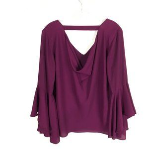 WHBM Plum Choker Blouse with Drape Neckline